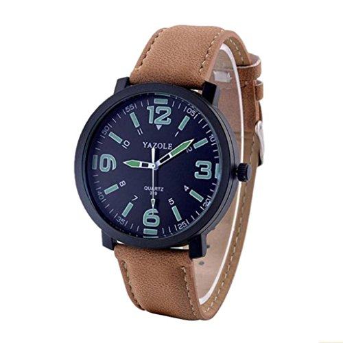 Preisvergleich Produktbild Internet Mode Leder LuxuxMens Militärquarz Armee Armbanduhr