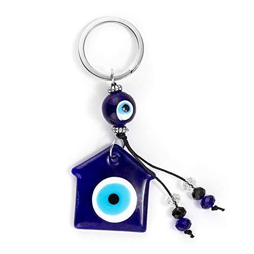 LZHLMCL Llavero Bolso Mujer Corazón Luna Tortuga Azul Evil Eye Llavero Llavero De Coche Aleación Color Plateado Llavero Para Mujeres Hombres 6
