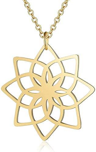 duoyunxiayu Collar Exclusivo Lotus Yoga Collar Diseño 100% Collares de Acero Inoxidable para Mujer Super Joyería de Moda
