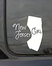 Wall Decor Plus More WDPM3019 State Girl Silhouette New Jersey Vinyl Car Decal, White