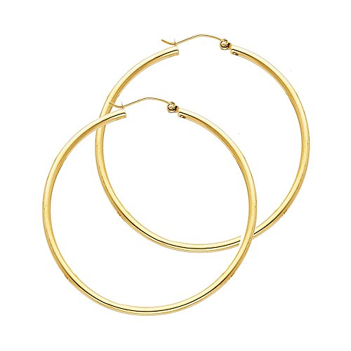 14k Yellow Gold 2mm Thickness Hinged Hoop Earrings (35 x 35 mm)