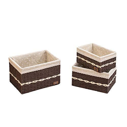Heding Rope Bagagli Basket di Raccolta Carta a Mano Weaving Metallo Cotone Cornice coprifilo con Maniglia a Prova d'umidità Bagno Sporco Vestiti, 2 Colori (Color : Natural, Size : B)