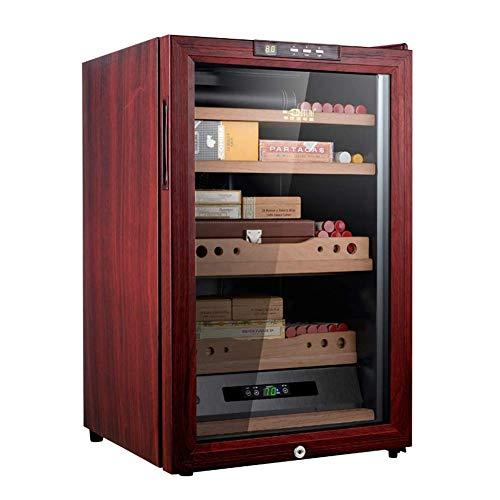 SHYPNA Desktop Cooler Humidor, Zigarren-Kabinett, Spanischer Zeder Holz ausgekleidet Regal, Glastür, Klima mit Heizung Kontrollierte und Kühlen, Hält 300 Zigarren