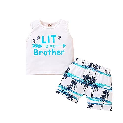 Traje de verano para recién nacido, sin mangas, estampado de hermano, camiseta de manga corta, pantalones cortos, 2 piezas de ropa, Hermano pequeño#, 6 mes