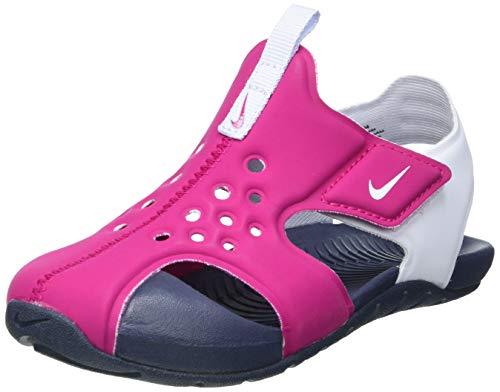 Nike Jungen Unisex Kinder Sunray Protect 2 (TD) Slide Sandal, Fireberry/Football Grey-Thunder Blue, 27 EU