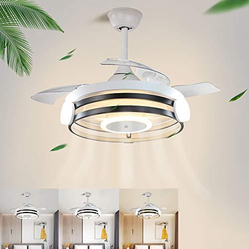 Depuley Ventilatore da soffitto con illuminazione e telecomando, 3 velocità regolabili, 3 modalità di colore, 30 W di luce e motore da 58 W con timer, silenzioso per soggiorno, camera da letto