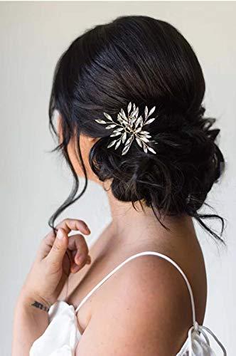 Simsly Horquillas de pelo de cristal para novia, accesorios para el pelo para novias y damas de honor (plata/paquete de 3)