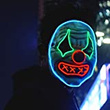 Halloween Led Clown Mask,Light Up Face Mask Scary Masquerade Cosplay Costume for Men Women (Clown Mask with O)