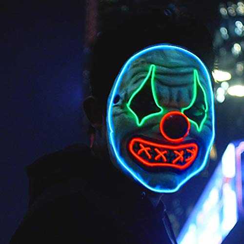 Halloween Led Clown Mask,Light Up Face Mask Scary Masquerade Cosplay Costume for Men Women Kids (Clown Mask with O)