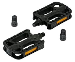 """Universal Fit: ½"""" pedal with 9/16"""" pedal adaptor fits all types of bicycle cranks CPSC approved reflectors are built in for increased visibility  in low light conditions Durable composite body will not rust"""