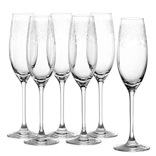 Leonardo Chateau Sekt-Gläser 6er Set, spülmaschinenfeste Prosecco-Gläser, Sekt-Kelch mit gezogenem Stiel, Sekt-Glas mit Gravur, 200 ml, 035302