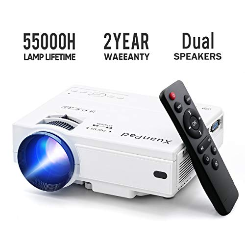 XuanPad Mini Proyector 2400 Lúmenes Multimedia Vídeo Proyector LCD, 55000 Horas Proyector de cine en casa con sistema de cine en casa, Compatible con Amazon Fire TV Stick, Full HD 1080P HDMI, VGA, USB, AV, computadora portátil, iphone, teléfono inteligente Android