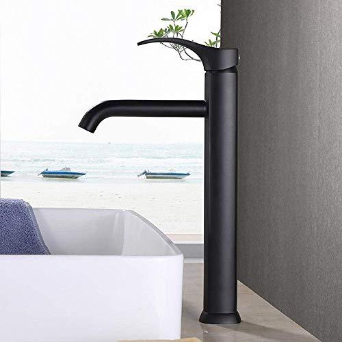 GQQ A316 - Grifo de lavabo de lavabo alto de latón negro para grifo de lavabo de agua caliente fría
