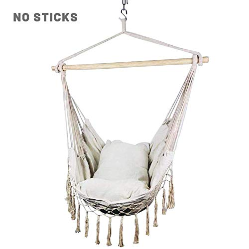 Cosy-TT Hammock Swing Chair,Cotton Canvas Hanging Rope Chair,Hammock Chair Hanging Rope Swing,Hammock Chair Nordic Space-saving Durable Tassel Swing with Pillow for Children Adult Student Dormitory Co