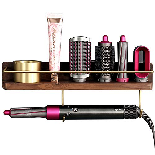 Wall Mounted Holder for Dyson Airwrap Styler Hair Curling Wand Brush Barrel Bathroom Shelf Tray Wood Stand Home Bedroom Hair Salon Storage Organizer with Hook for Comb Cream Facial Cleanser