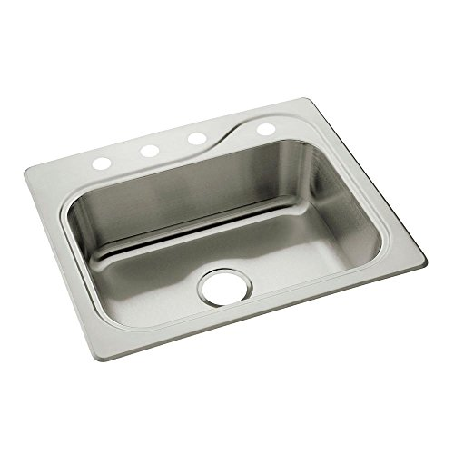 STERLING 11403-4-NA Southhaven 25-inch by 22-inch Top-mount Single Bowl Kitchen Sink Stainless Steel