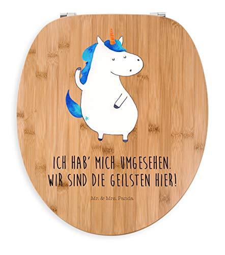Mr. & Mrs. Panda WC-Sitz, Holz, Motiv WC Sitz Einhorn Mann mit Spruch - Farbe Transparent