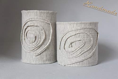 Dekodosen Spirale hellgrau 2 Stück handmade Unikate