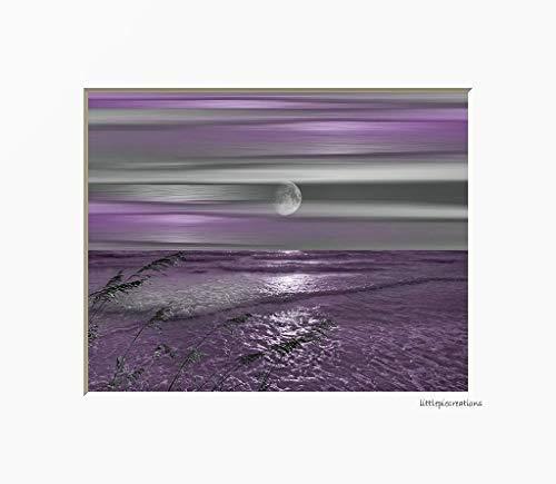 Purple Wall Decor, Coastal, Ocean Moon, Modern Bathroom, Bedroom Matted Wall Art Picture