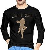 Thimd Jethro Tull Camiseta de Exterior de Manga Larga Suave para Hombre, 100% algodón, Camisetas con Estampado, Camiseta Negra