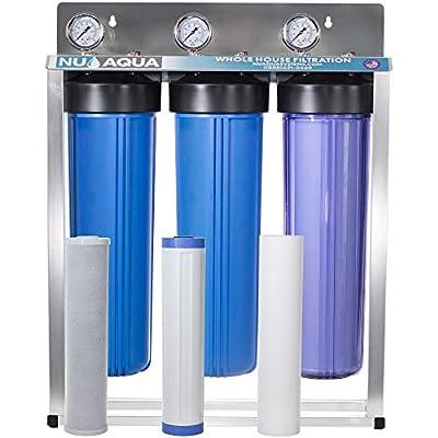 "Nu Aqua Platinum Series 3 Stage Whole House Water Filtration System With Pressure Gauges – 20""x4.5"" Sediment, Granular Carbon, Carbon Block Filters, 1"" NPT Connection"