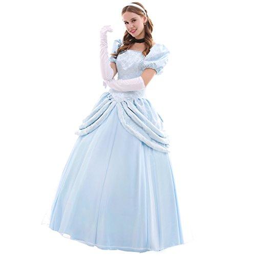 Fortunehouse Disfraz de Cenicienta para adultos con guantes para mujer, disfraz de cuento de hadas para disfraz de princesa para Halloween