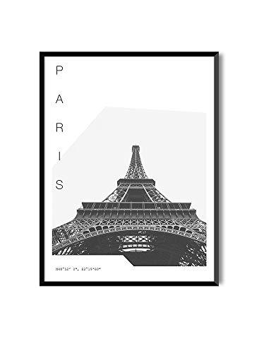 MILUKA Láminas para Enmarcar para Cuadro de Estilo Fotográfico   Póster de Ciudades y Viajes   PARÍS   Blanco y Negro (30 x 40 cm)
