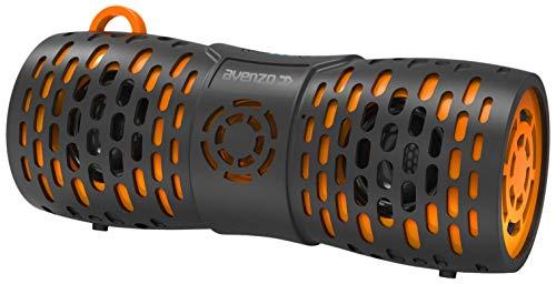 Avenzo - Altavoz Bluetooth, Modelo AV-SP3001BO, Potencia de 12 W, Resistente al Agua y al Polvo, Función Manos Libres, Altavoz Flotante, Altavoz Inalámbrico, Color Negro/Naranja