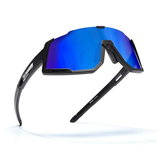 DOVAVA Sportbrille Fahrradbrille Herren Damen, Sonnenbrille Fahrrad UV400-Schutz und Tr90 Superlight Frame,mit 3 Wechselgläser (Blau)