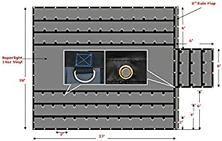 Mytee Products Superlight 14oz Flatbed Trailer Lumber Steel Tarp 20x27 (6' Drop) - Black
