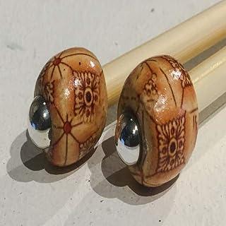 1paire de 5,5mm avec perles en bambou Aiguilles à tricoter/crochet simple, Choisissez Longueur et perle 15cm Crochet Hoo...
