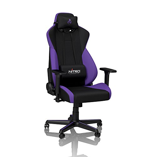 Nitro-Concepts S300 Chaise de Gaming - Chaise de Bureau - 135 kg - Inclinable de 90 ° à 135 ° - Réglable en Hauteur - Accoudoirs 3D - Noir/Violett