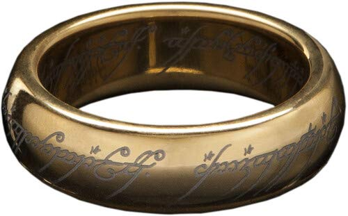 WETA Workshop - Lord of The Rings - LOTR The One Ring (Gold Plated Tungsten with Elvish Runes), Size 8
