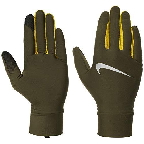 Nike 327 - Guanti da corsa da uomo in tela verde oliva, Uomo, Guanti., N.RG.M0.327.LG, Tela oliva / Bright c, L