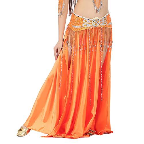 Guiran Danza del Vientre Faldas Largas Vestidos De Mujer Latina Tango Falda Larga De Apertura Hendidura Alta Naranja