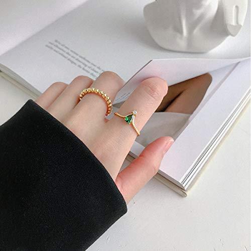 Esberry - Anello in argento Sterling massiccio placcato in oro con zirconi verdi larghi e lisci, creatività, realizzato a mano, gioiello unico e unico, regalo per donne