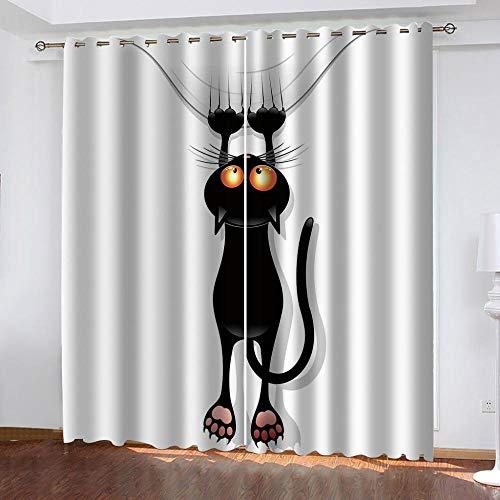 JJDSL Ragazza ragazzo CamerettaTenda Gattino nero cartone animato 254 x 213cm Stampa 3D Tende Oscurante con Occhielli Tenda Finestre Soggiorno Camera da Letto Casa Moderne