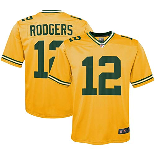 NFL Youth 8-20 Inverted Alternate Color Game Day Player Jersey (Aaron Rodgers Green Bay Packers Yellow, 10-12)