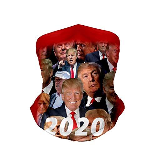 KIACIYA Trump Wind Face Shield Mundschutz Lustig Chopper Atmungsaktiv & Schnelltrocknend - Motorrad Gesicht Multifunktionstuch Mund-Tuch Halsschlauch Halstuch Mit Motiv Maske (5,24x45cm)