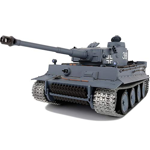 Modified Edition 1/16 2.4ghz Remote Control German Tiger I Gray Color Tank Model(360-Degree Rotating Turret)(Steel Gear Gearbox)(3800mah Nimh Battery)(Metal Tracks &Sprocket Wheel & Idle Wheel)
