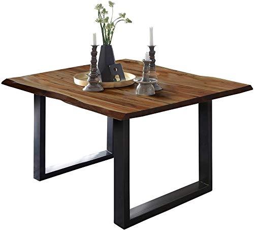 SAM Esszimmertisch 80x80 cm ULM, Baumkantentisch nussbaumfarben, Akazienholz massiv, U-Gestell aus Metall schwarz