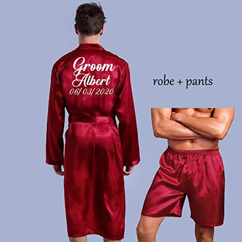 IAMZHL Bata de Novio de Seda Suave Albornoz para el hogar camisón para Hombres Kimono Personalizado para el Banquete de Boda-Red Robe pants-3-M