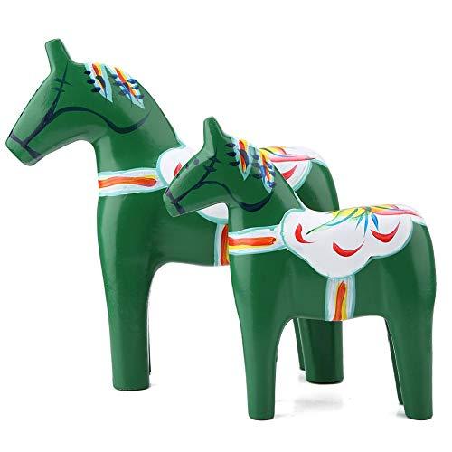 2 delar/set häst figur, handmålad staty skulptur trä Sverige Dala häst figur kontor hem skrivbord konst hantverk dekor ornament