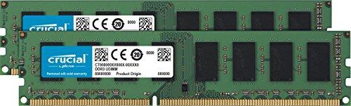 Crucial RAM CT2K102464BD160B 16Go Kit (2x8Go) DDR3 1600 MHz CL11 Mémoire de bureau