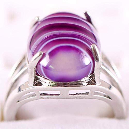Gflyme Anillo abierto para mujer, ajustable, vintage, simple, ovalado, púrpura, venas, ágata, piedra, anillo, unisex, joyería de plata, regalos para bodas, graduación, cumpleaños, cumpleaños, pro