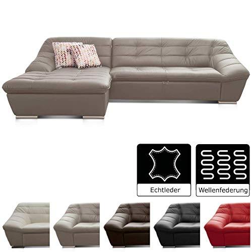 Cavadore Leder-Sofa Lucas / Ecksofa in Echtleder mit Steppung / Longchair links / Größe: 287 x 81 x 165 (BxHxT) / Leder grau
