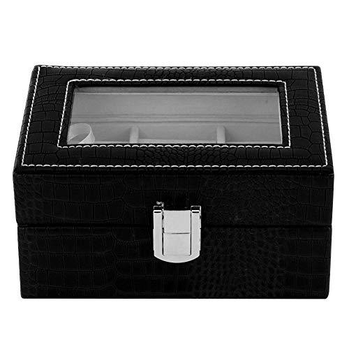 WEILafudong Material de cuero retro joyería caja de almacenamiento caja de joyería caja de almacenamiento collar anillo exhibición retro caja de regalo transparente ventana de cristal