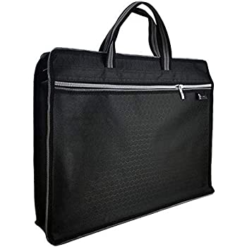 Top Handle Business Briefcase Bag Oxford Fabric Office School Meetting Travel Use File Bills Document Expanding Storage Organizer Holder A4 Size File Folder Carrying Case Handbag Black HB415 Greenery