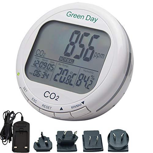 Clicke Indoor Tisch CO2-Gas-Detektor mit Alarmfunktion Luftqualität Detektor Temperatur und Feuchte-Temperatur-Einheit umschaltbar