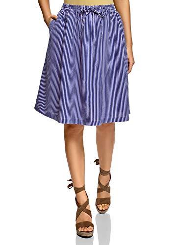 oodji Ultra Mujer Falda Midi con Pliegues Suaves, Azul, ES 38 / S